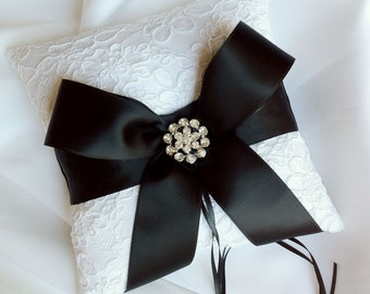 Black and White Ring Bearer Pillow - Alencon Lace Ring Bearer Pillow