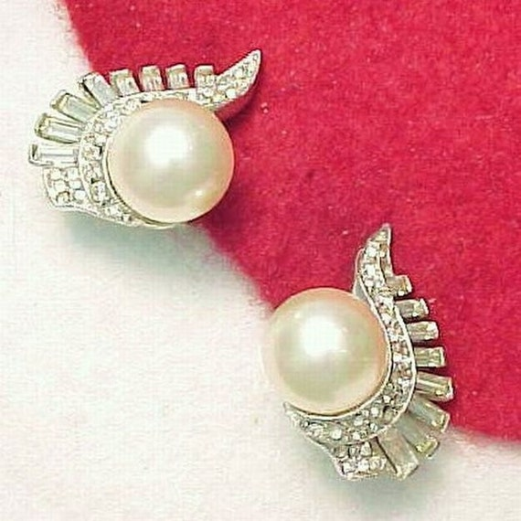 MARVELLA Sparkling Rhinestone Pearl Earrings Clip Back Bride, Wedding, Special Occasion