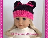 Doll Clothes Made To Fit American Girl, Minnie Mouse Crochet Hat, Red or Pink Polka Dots, 18 Inch Doll Clothes
