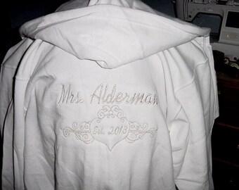 Personalized  Mrs. Sweatshirt Crown Queen Hoodie Honeymoon Bridal shower Bride to be Full zip up hoody