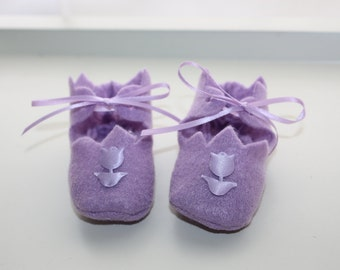 10% OFF Baby Lavender Felt Booties