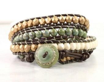 Sage Green Bracelet Brown Leather Wrap Bracelet Winter Fashion Boho Style 4x Wrap Gold Wrap Bracelet Cream Jewelry