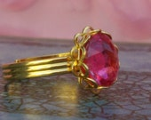 Shop Closing Sale... Pinque and Dainty.... Simply Pretty Vintage Swarovski Hot Pinque Gold Plated Adjustable Ring