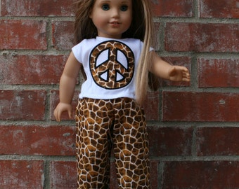 18 Inch Doll Pajamas with a Peace Sign in Giraffe Print