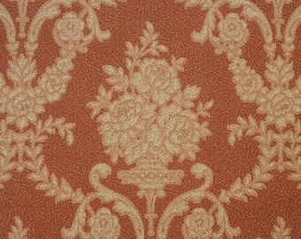 1920's Antique Vintage Wallpaper Victorian Roses and Scrolls Barkcloth--Made in Belgium