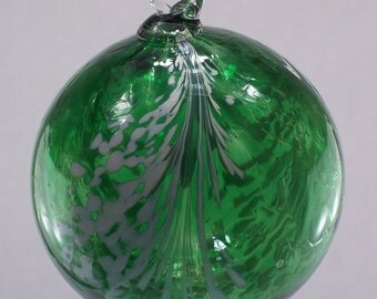 Emerald Green Angel Feather Blown Glass Ornament 3.5 inches FREE SHIPPING
