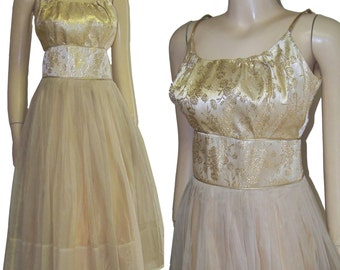 Vintage 50s nylon party dress gold brocade madman medium