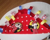 Baby Tag Blanket, Disney Minnie Mouse, Handmade Sensory Blanket, Toy Teething, Ribbons,Minkey, Red, Blue, Soft