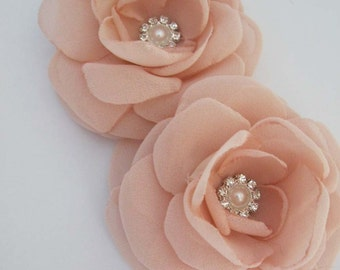 Bridal hair accessory Blush Pink, chiffon set, F152 - bridal hair accessory