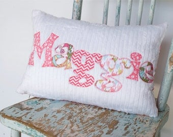 A Monogrammed Pillow in Coral CHEVRONS, Hounds tooth, and Florals / Personalized with Your Baby or Toddler Girl's First Name / Custom made