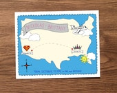 """long distance map - custom art for loved ones living far apart - includes 2 8""""x10"""" prints"""