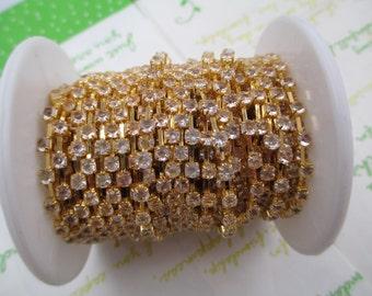 Clear rhinestone chain ( Gold tone ) 3mm stone 50cm