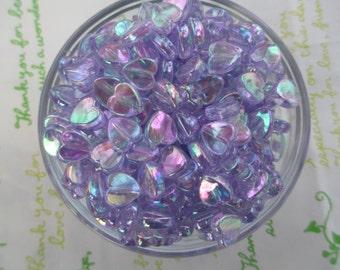 New item Tiny Shiny Heart beads 50pcs 9mm AB Light purple Lavender Lilac