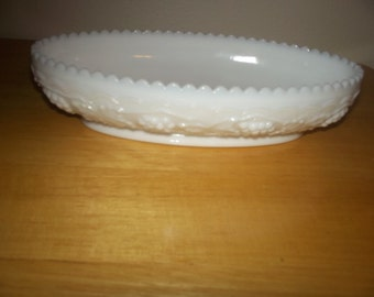 Milk glass celery dish