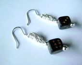 Sterling Silver Byzantine Chainmail Earrings with Six Sided Die Dangle