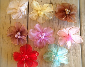 New-MINI ORGANZA flowers Pearls- 1 1/2 inches-CHOICE  of 12 colors
