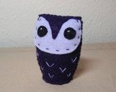 Dark Purple Owlie - Felt Mini Owl Soft Sculpture