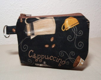 Coffee Time Zipper Pouch Small Coin Purse or Dice Bag