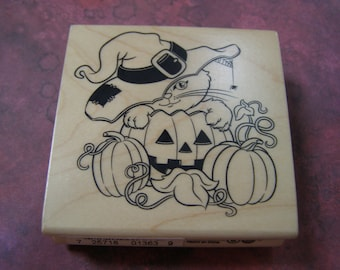 Jack O Lantern Patch Halloween wood mounted Rubber Stamp