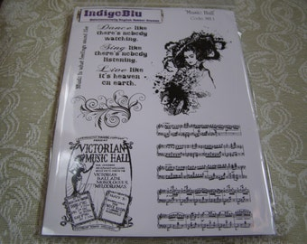 Music Hall set of 8 images on pink rubber & foam Unmounted Stamps from IndigoBlu