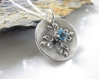Flourish Pendant with Faceted Swiss Blue Topaz Gem - Hand Made from Fine Silver Necklace on Sterling Chain
