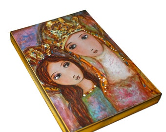 Ora Pro Nobis Saint Anne and Mary - Giclee print mounted on Wood (5 x 7 inches) Folk Art  by FLOR LARIOS