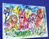 Dog Cards, Dogs Painting, Dog Art, Dog Note Cards, Labrador Retriever, Podengo, Dog Drawing, Golden Retriever Art, Dogs, Greeting Cards