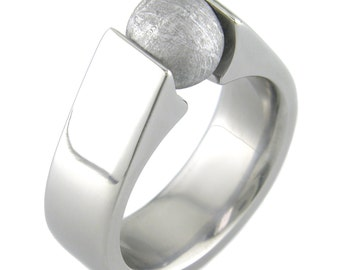 Meteorite Sphere Titanium Ring