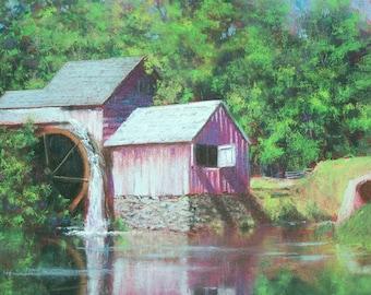 WATERWHEEL' Howard Scherer ORIGINAL pastel drawing 20 x 16 framed