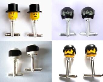 Custom design your own Cufflinks - Handmade with LEGO(r) Heads and headgear