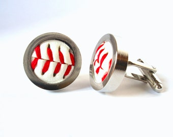 Baseball Cufflinks, Wedding Cufflinks, Silver Plated Cufflinks - Made from Real Baseballs