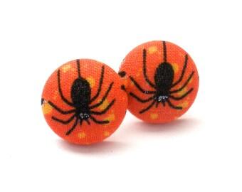 Fabric Button Earrings, Halloween Earrings, Spider Earrings, Stud Earrings, Fall Trends, Halloween Jewelry