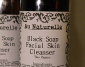 Black Soap Facial Cleanser   -    Two Ounce Size -   Oily Skin Cleanser