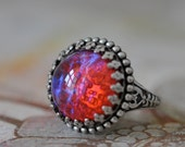 Red Opal Ring Dragon's Breath glass Opal on ox. Silver - ElvesGarden