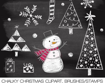 Chalkboard Doodles Christmas Digital Clipart, Photoshop Brushes and Stamps. Instant Download. Personal and Limited Commercial Use.