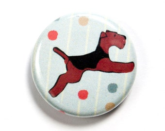 Flying Welsh Terrier Airedale Button Badge