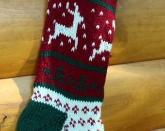 Hand Knit Christmas Stocking Dancing Deer - Handmade & Ready to Ship