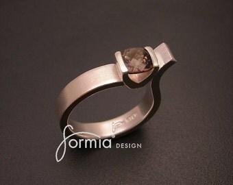 asymmetrically set gemstone in a sterling silver ring