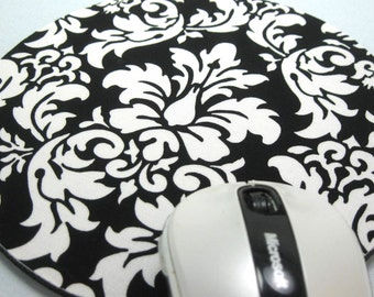 Buy 2 FREE SHIPPING Special!!   Mouse Pad, Round Fabric Computer Mousepad, or Trivet Dandy Damask Black & White