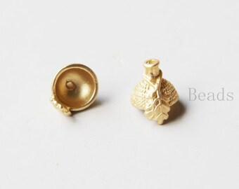 4pcs Matte Gold Plated Base Metal Acorn Caps-15x13mm with Open Part 10mm (356C-S-102)