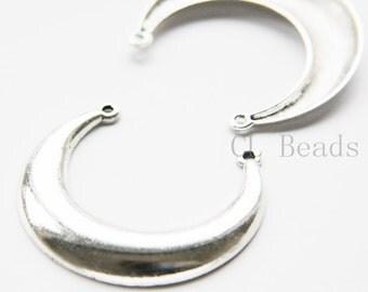 4pcs Oxidized Silver Tone Base Metal Pendant - Crescent - 51x48mm (5614Y-H-344)