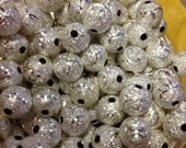 Silver Etched & Diamond Dust Beads Beautiful