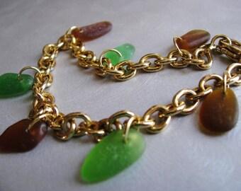 Kelly Green Sea Glass - Beach Glass Jewelry - Sea Glass Bracelet