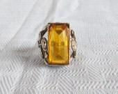 1920's Vintage Sterling Silver Art Nouveau Ring Possible Czech Glass