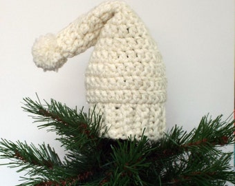 Stocking Hat Tree Topper, Crochet Christmas Decoration, Cream Sparkle, Holiday Decor