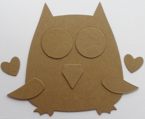 Owl chipboard die cuts animal bare craft shapes