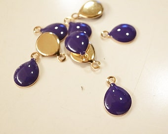 35 pcs solid purple resin charm on brass base plated in gold  tone 7x10mm