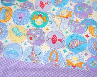1 meter Princess print dot border purple  nc33