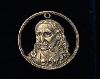 Wild Bill Hickok - cut coin pendant - from 1970 Franklin Mint set RUGGED AMERICANS
