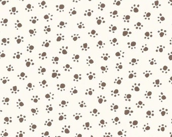 Fat Quarter -TAUPE Paw Prints on CREAM Background by Michael Miller Fabrics CX5456-Cream